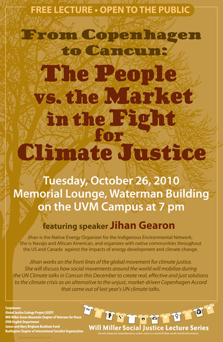 Poster for Climate Justice meeting October 26