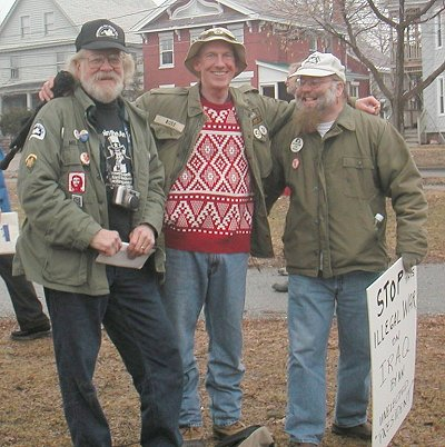 Will with Vets for Peace (Dave Ross and Bert Thompson) at Burlington Anti-War Rally 2003.