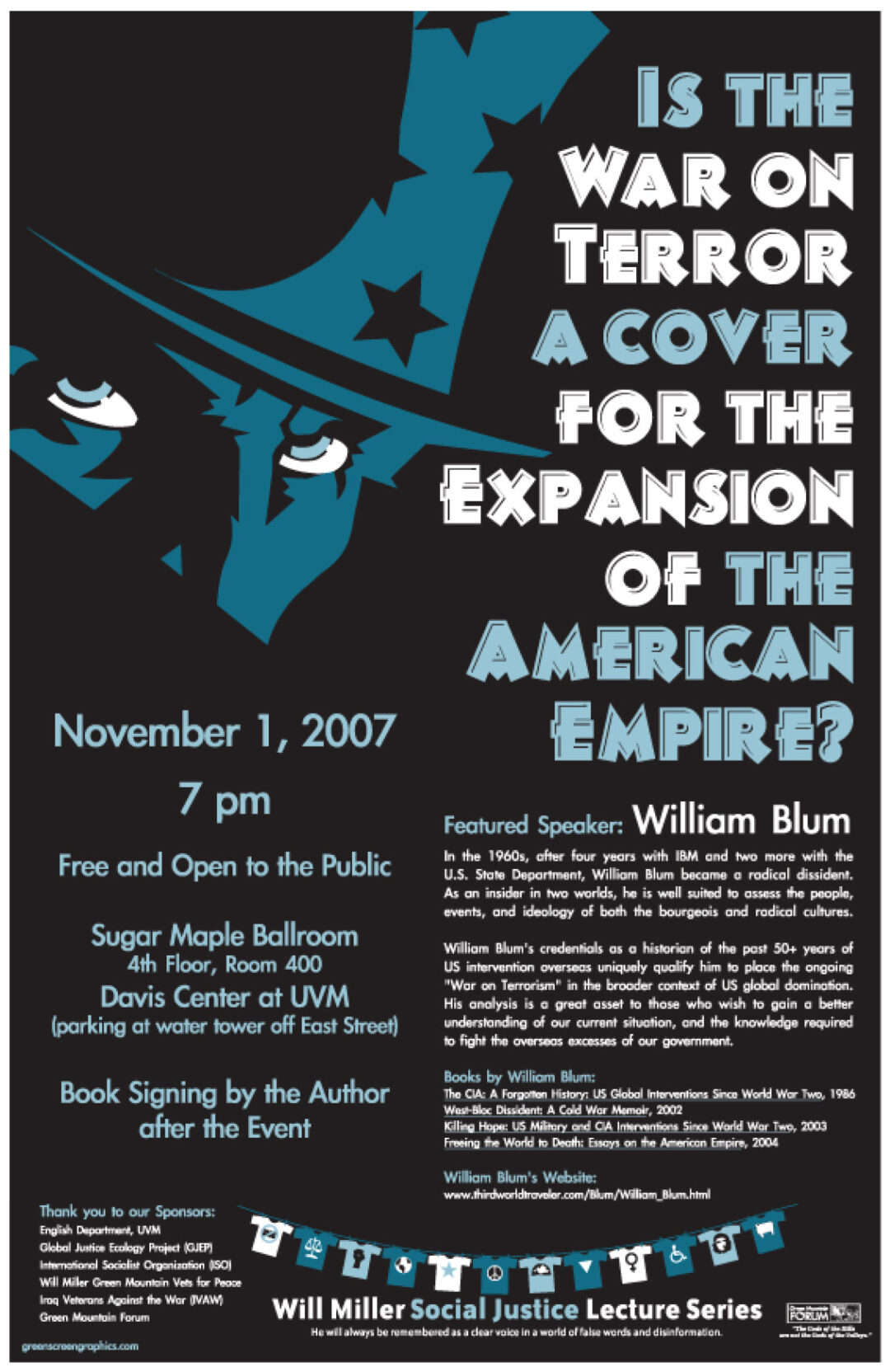 Poster for Will Blum event